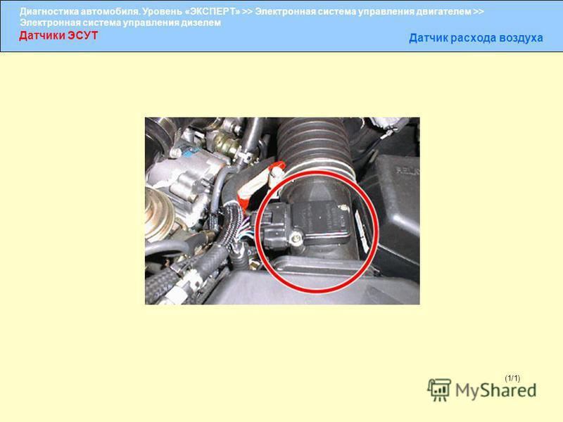Диагностика автомобиля. Уровень «ЭКСПЕРТ» >> Электронная система управления двигателем >> Электронная система управления дизелем Датчики ЭСУТ Датчик расхода воздуха (1/1)
