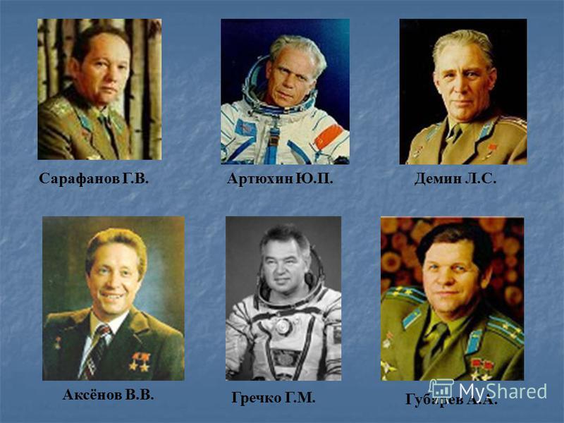 Артюхин Ю.П.Демин Л.С.Сарафанов Г.В. Гречко Г.М. Губарев А.А. Аксёнов В.В.