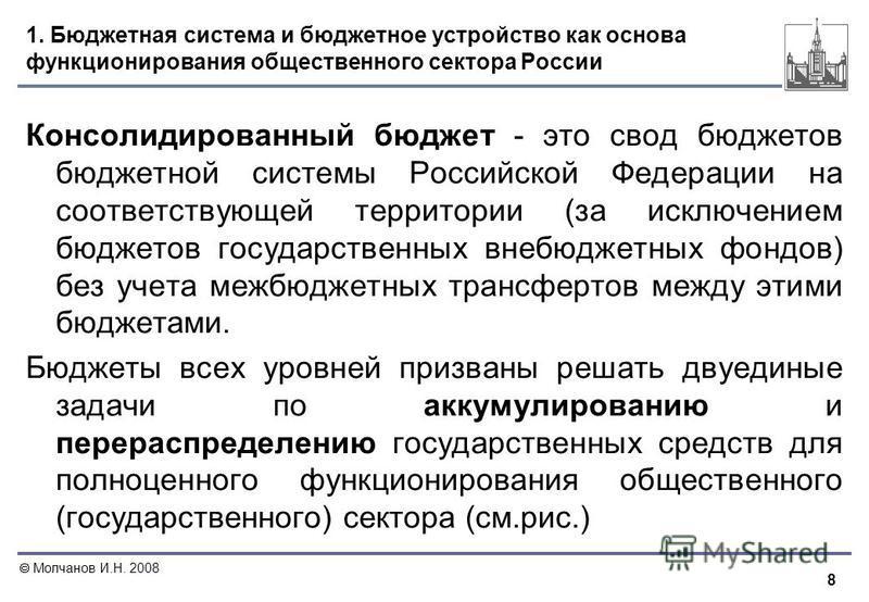 8 Молчанов И.Н. 2008 1. Бюджетная система и бюджетное устройство как основа функционирования общественного сектора России Консолидированный бюджет - это свод бюджетов бюджетной системы Российской Федерации на соответствующей территории (за исключение