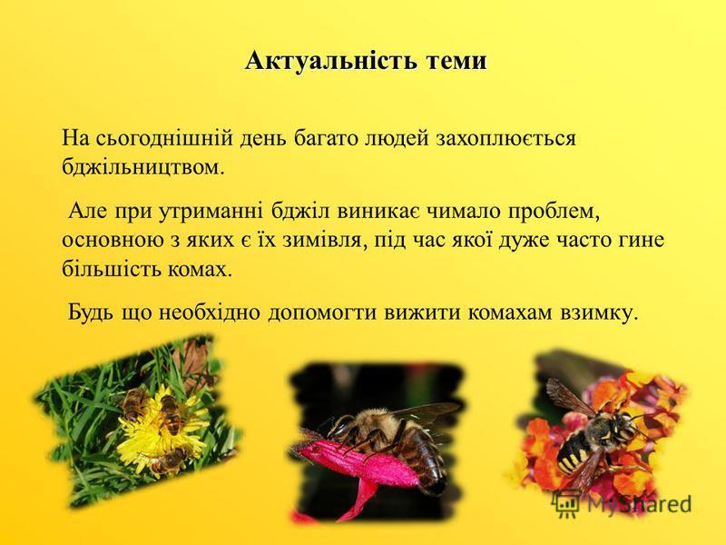 Актуальність теми На сьогоднішній день багато людей захоплюється бджільництвом. Але при утриманні бджіл виникає чимало проблем, основною з яких є їх зимівля, під час якої дуже часто гине більшість комах. Будь що необхідно допомогти вижити комахам взи