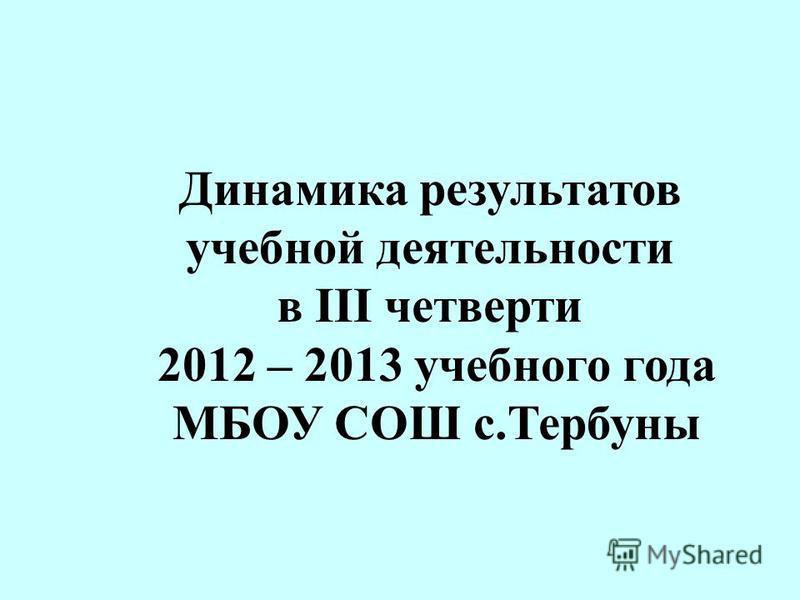 Динамика результатов учебной деятельности в III четверти 2012 – 2013 учебного года МБОУ СОШ с.Тербуны