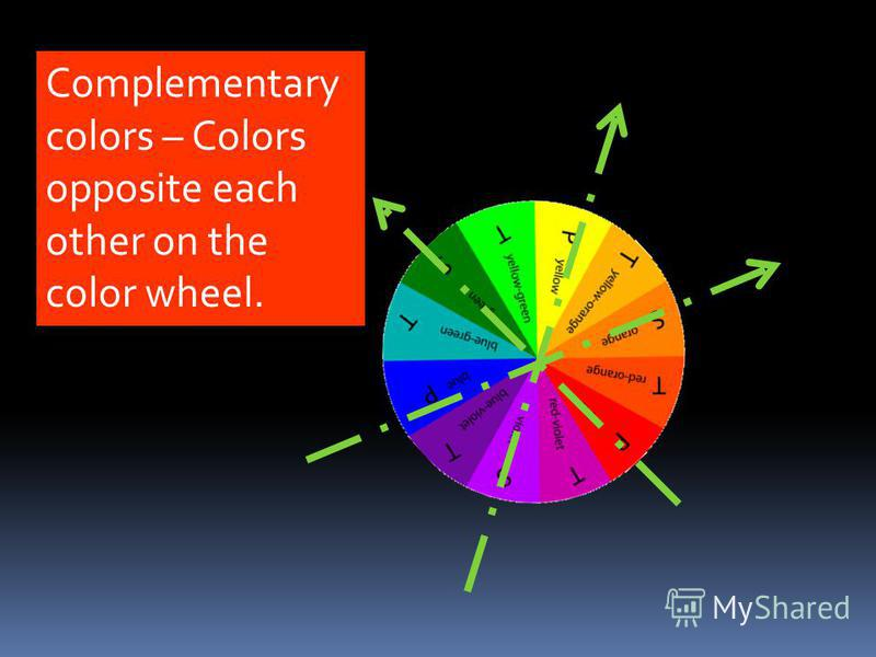 Complementary colors – Colors opposite each other on the color wheel.