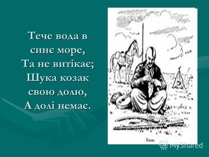 Тече вода в синє море, Та не витікає; Шука козак свою долю, А долі немає.