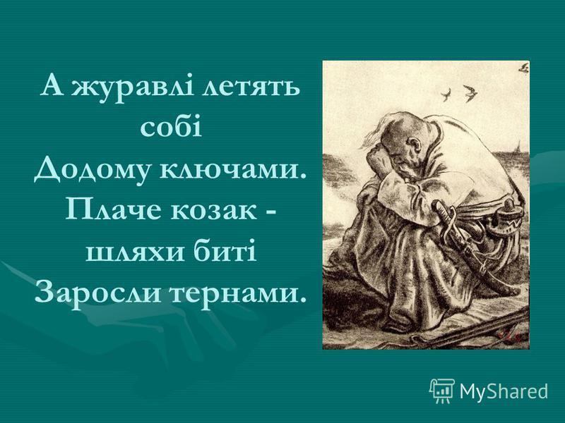 А журавлі летять собі Додому ключами. Плаче козак - шляхи биті Заросли тернами.