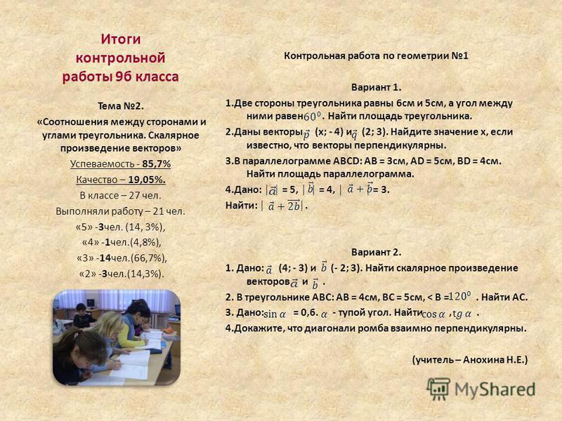 Итоги контрольной работы 9 б класса Контрольная работа по геометрии 1 Вариант 1. 1. Две стороны треугольника равны 6 см и 5 см, а угол между ними равен. Найти площадь треугольника. 2. Даны векторы (x; - 4) и (2; 3). Найдите значение x, если известно,