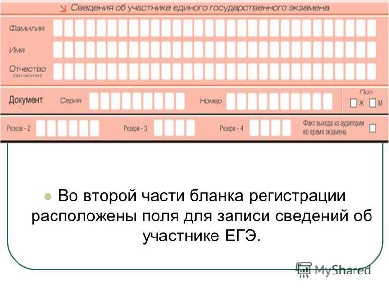 Во второй части бланка регистрации расположены поля для записи сведений об участнике ЕГЭ.