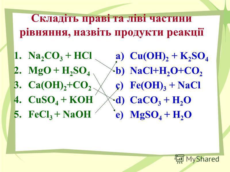 Складіть праві та ліві частини рівняння, назвіть продукти реакції 1.Na 2 CO 3 + HCl 2.MgO + H 2 SO 4 3.Ca(OH) 2 +CO 2 4.CuSO 4 + KOH 5.FeCl 3 + NaOH a)Cu(OH) 2 + K 2 SO 4 b)NaCl+H 2 O+CO 2 c)Fe(OH) 3 + NaCl d)CaCO 3 + H 2 O e)MgSO 4 + H 2 O