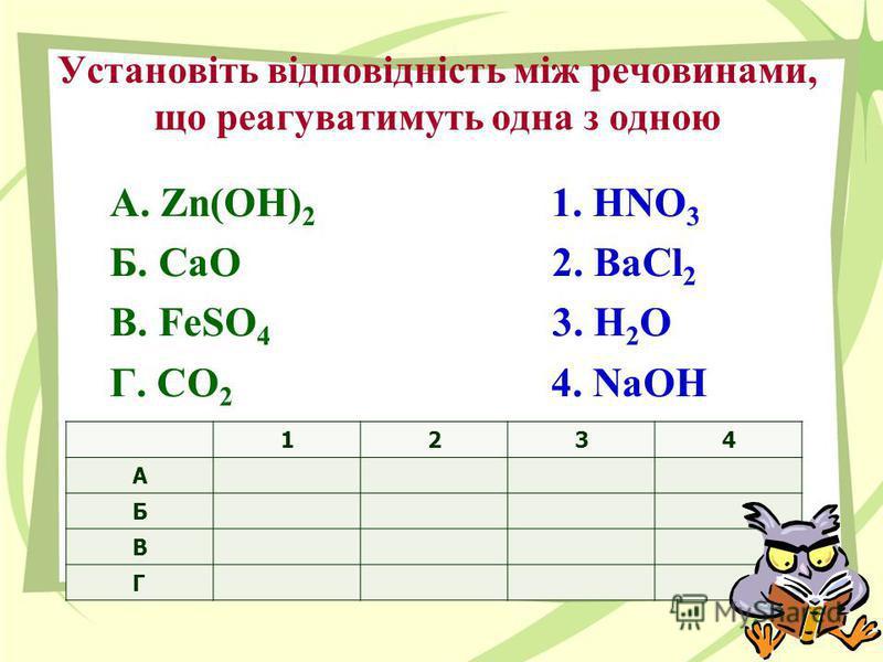 Установіть відповідність між речовинами, що реагуватимуть одна з одною А. Zn(OH) 2 1. HNO 3 Б. CaO 2. BaCl 2 В. FeSO 4 3. Н 2 О Г. СО 2 4. NaOH 1234 А Б В Г