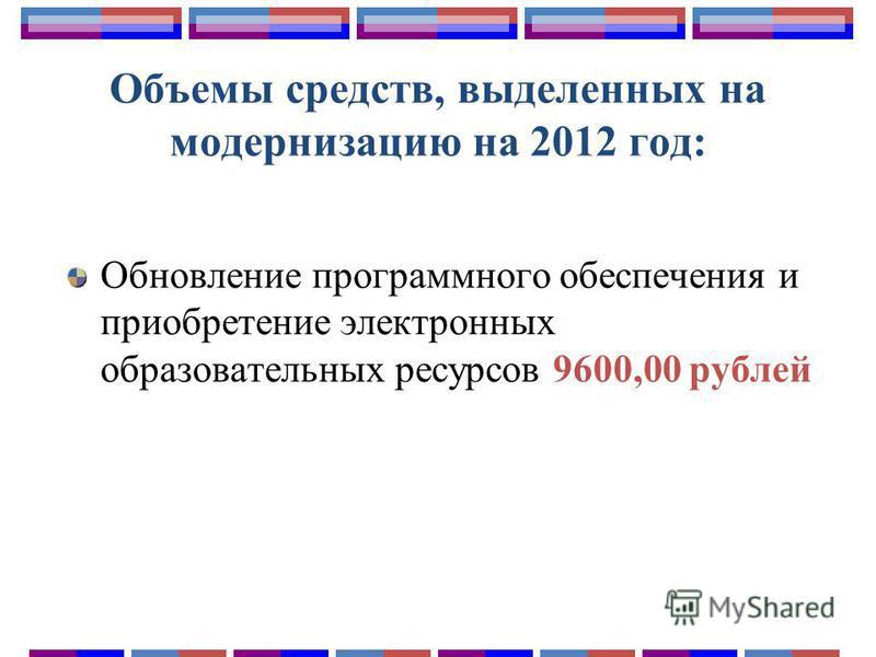 Объемы средств, выделенных на модернизацию на 2012 год: Обновление программного обеспечения и приобретение электронных образовательных ресурсов 9600,00 рублей
