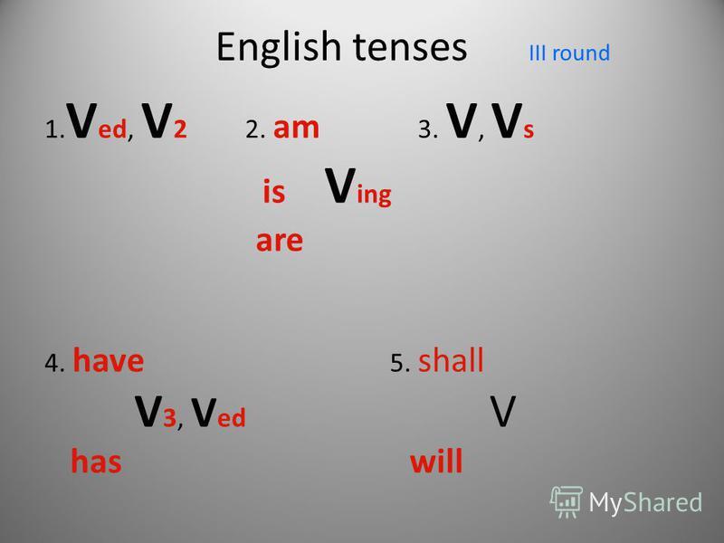 English tenses III round 1. V ed, V 2 2. am 3. V, V s is V ing are 4. have 5. shall V 3, V ed V has will