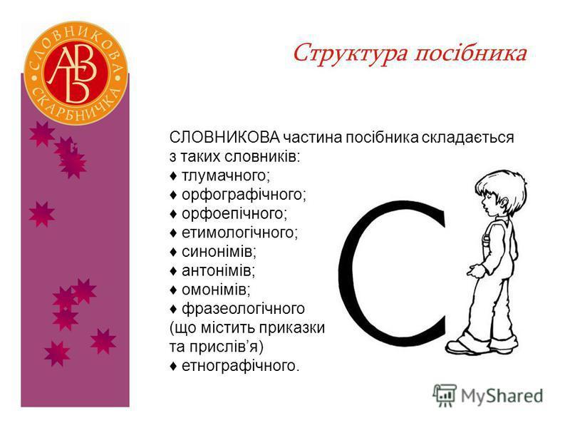Структура посібника СЛОВНИКОВА частина посібника складається з таких словників: тлумачного; орфографічного; орфоепічного; етимологічного; синонімів; антонімів; омонімів; фразеологічного (що містить приказки та прислівя) етнографічного.
