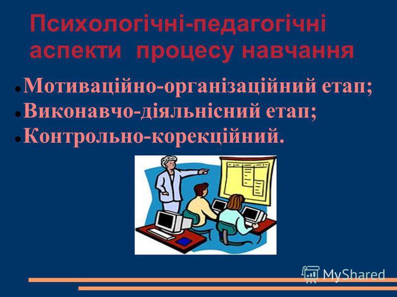 Психологічні-педагогічні аспекти процесу навчання Мотиваційно-організаційний етап; Виконавчо-діяльнісний етап; Контрольно-корекційний.
