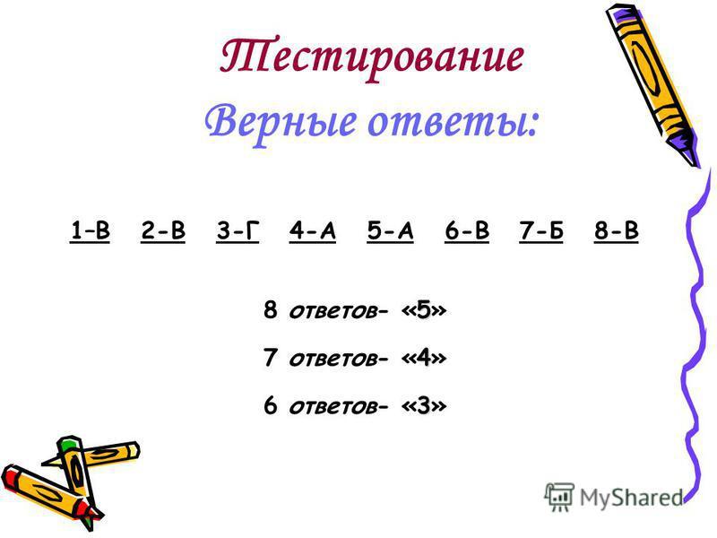 Тестирование Верные ответы: 1–В 2-В 3-Г 4-А 5-А 6-В 7-Б 8-В 5 8 ответов- «5» 4 7 ответов- «4» 3 6 ответов- «3»