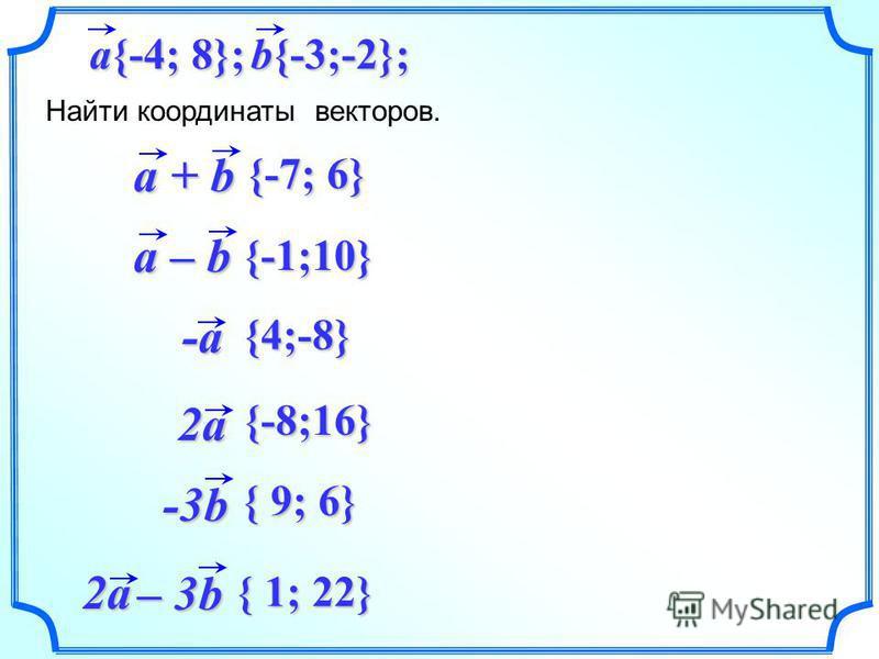 a + b Найти координаты векторов. b{-3;-2}; a{-4; 8}; 2a -3b 2a – 3b -a -a a – b {-1;10} {-7; 6} {4;-8} {-8;16} { 9; 6} { 1; 22}