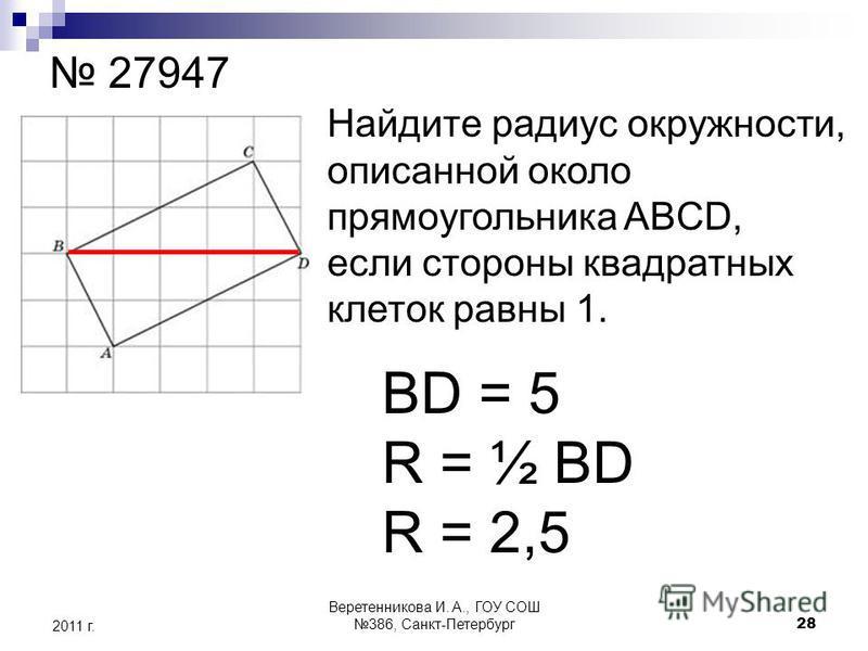 27947 Найдите радиус окружности, описанной около прямоугольника ABCD, если стороны квадратных клеток равны 1. BD = 5 R = ½ BD R = 2,5 2011 г. 28 Веретенникова И. А., ГОУ СОШ 386, Санкт-Петербург