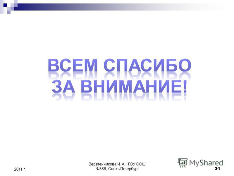 2011 г. 34 Веретенникова И. А., ГОУ СОШ 386, Санкт-Петербург