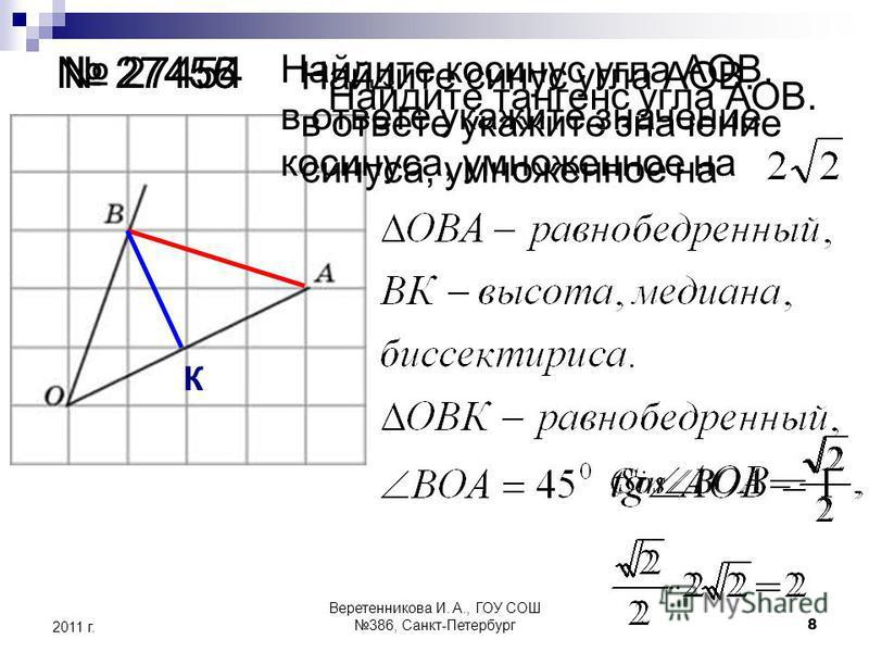 К 27454 27455 27456 Найдите косинус угла АОВ. в ответе укажите значение косинуса, умноженное на Найдите синус угла АОВ. в ответе укажите значение синуса, умноженное на Найдите тангенс угла АОВ. 2011 г. 8 Веретенникова И. А., ГОУ СОШ 386, Санкт-Петерб