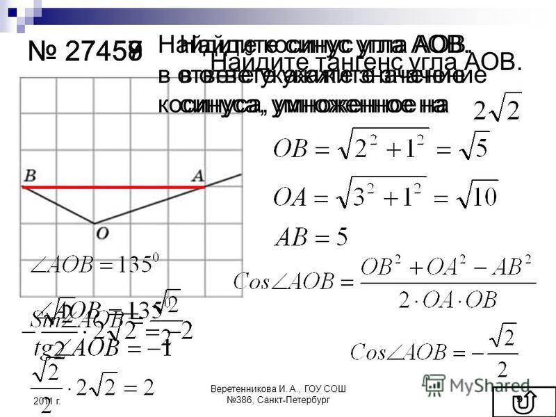 27457 27458 27459 Найдите синус угла АОВ. в ответе укажите значение синуса, умноженное на Найдите косинус угла АОВ. в ответе укажите значение косинуса, умноженное на Найдите тангенс угла АОВ. 2011 г. 9 Веретенникова И. А., ГОУ СОШ 386, Санкт-Петербур