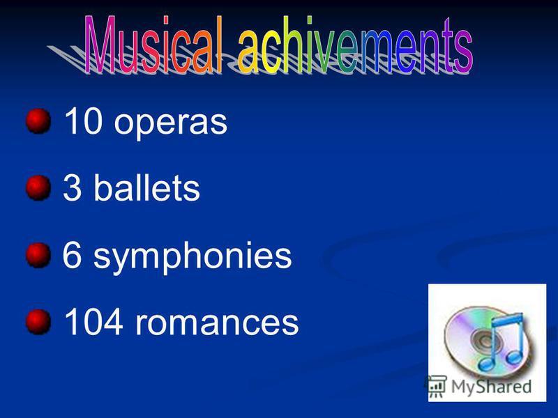 10 operas 3 ballets 6 symphonies 104 romances
