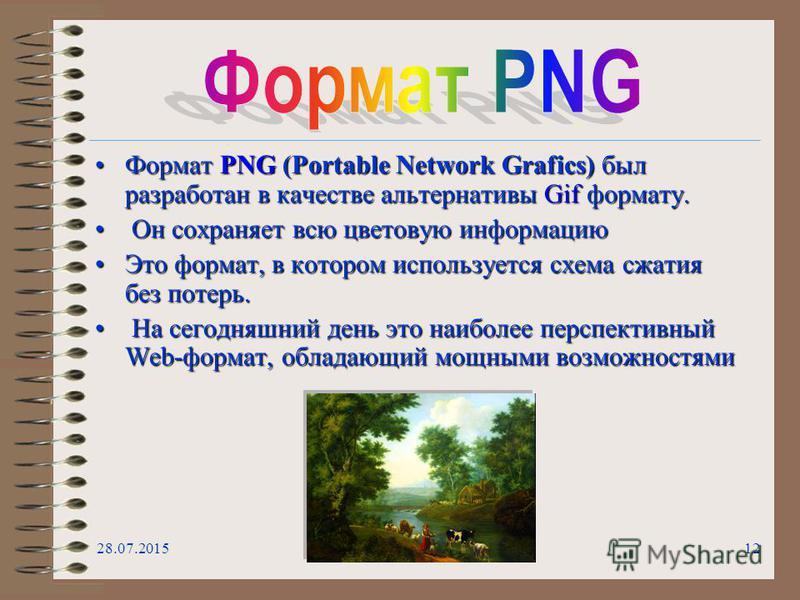 28.07.201512 Формат PNG (Portable Network Grafics) был разработан в качестве альтернативы Gif формату.Формат PNG (Portable Network Grafics) был разработан в качестве альтернативы Gif формату. Он сохраняет всю цветовую информацию Он сохраняет всю цвет