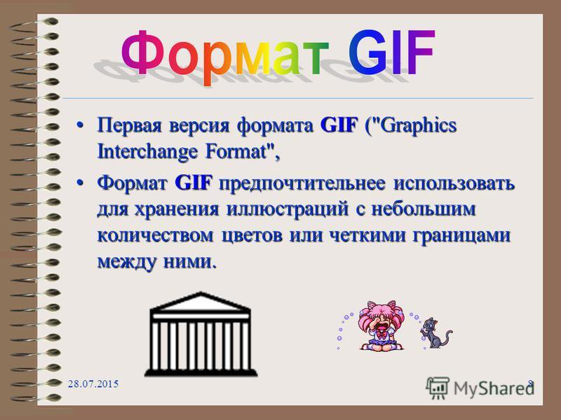 28.07.20158 Первая версия формата GIF (