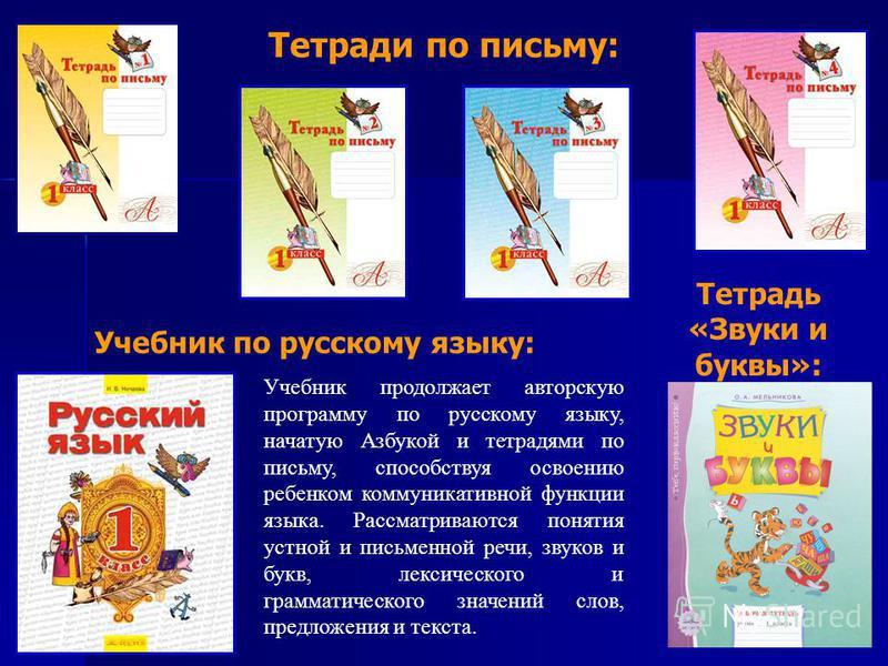 Учебник по русскому языку: Учебник продолжает авторскую программу по русскому языку, начатую Азбукой и тетрадями по письму, способствуя освоению ребенком коммуникативной функции языка. Рассматриваются понятия устной и письменной речи, звуков и букв,