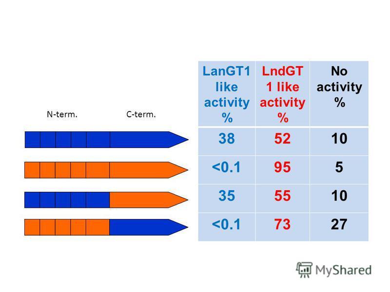 LanGT1 like activity % LndGT 1 like activity % No activity % 385210 <0.1955 355510 <0.17327 N-term.C-term.