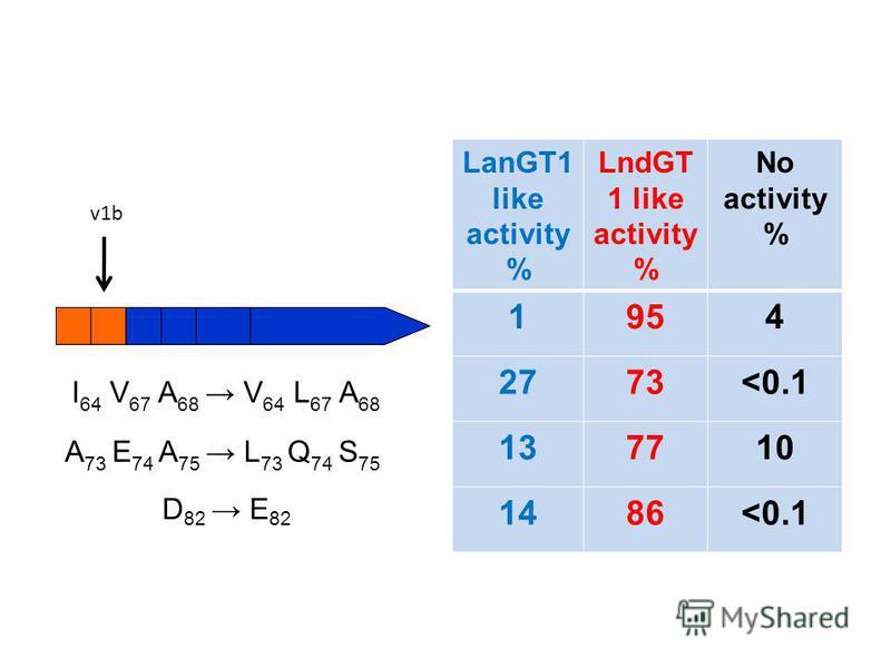 LanGT1 like activity % LndGT 1 like activity % No activity % 1954 2773<0.1 137710 1486<0.1 I 64 V 67 A 68 V 64 L 67 A 68 A 73 E 74 A 75 L 73 Q 74 S 75 D 82 E 82 v1b