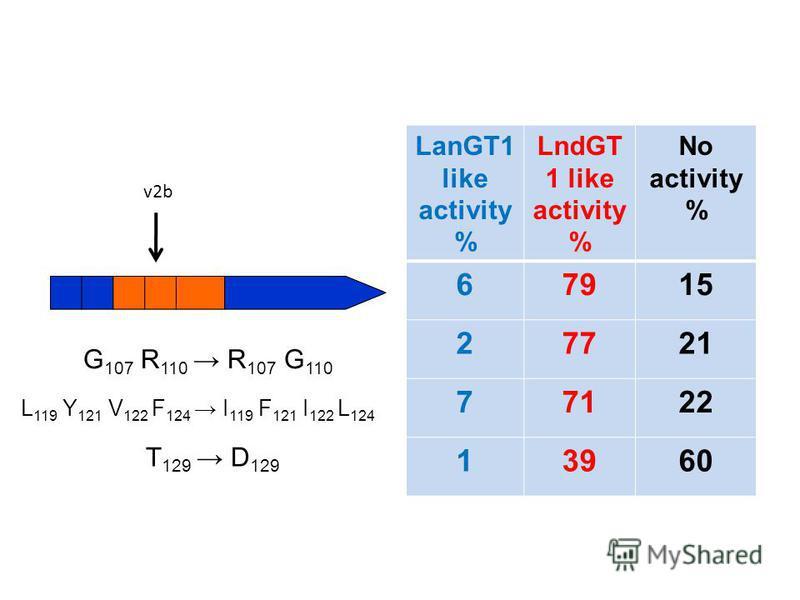LanGT1 like activity % LndGT 1 like activity % No activity % 67915 27721 77122 13960 G 107 R 110 R 107 G 110 L 119 Y 121 V 122 F 124 I 119 F 121 I 122 L 124 T 129 D 129 v2b