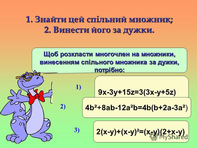 1. Знайти цей спільний множник; 2. Винести його за дужки. Щоб розкласти многочлен на множники, винесенням спільного множника за дужки, потрібно: 9x-3y+15z=3(3x-y+5z) 1) 2(x-y)+(x-y)²=(x-y)(2+x-y) 3) 4b²+8ab-12a²b=4b(b+2a-3a²) 2)