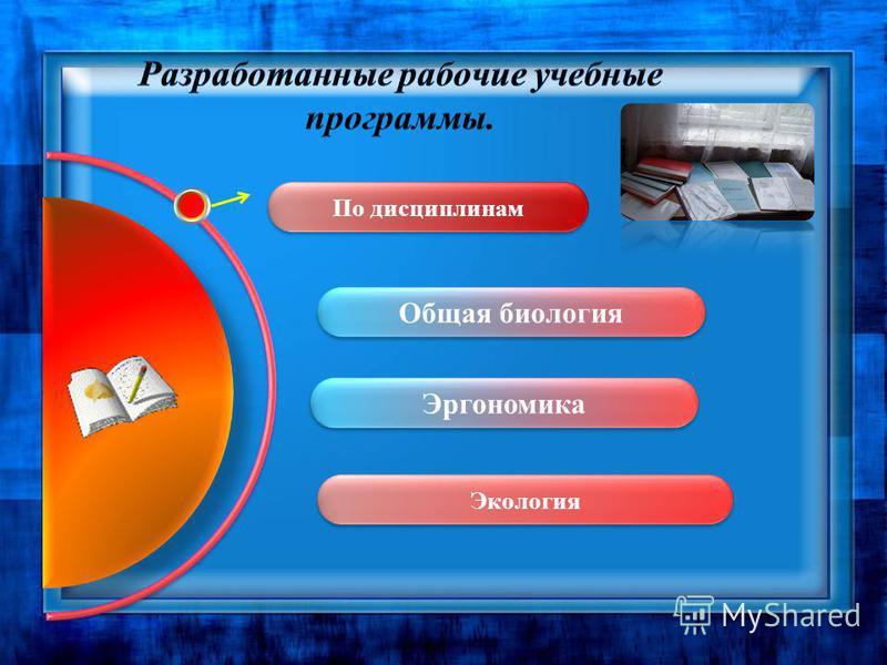 Разработанные рабочие учебные программы. Экология По дисциплинам Эргономика Общая биология