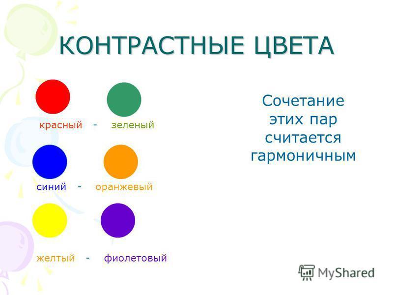 КОНТРАСТНЫЕ ЦВЕТА красный - зеленый синий - оранжевый желтый - фиолетовый Сочетание этих пар считается гармоничным