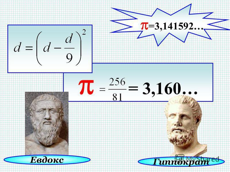 = 3,160… Гиппократ Евдокс =3,141592…