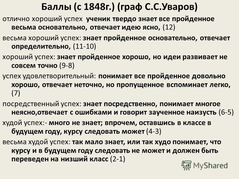 Баллы (с 1848 г.) (граф С.С.Уваров) отлично хороший успех: ученик твердо знает все пройденное весьма основательно, отвечает идею ясно, (12) весьма хороший успех: знает пройденное основательно, отвечает определительно, (11-10) хороший успех: знает про