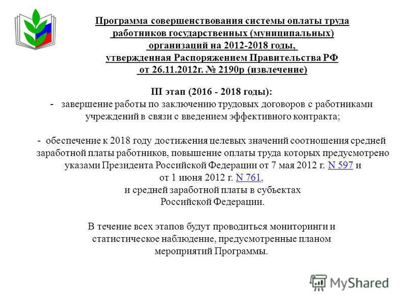 Программа совершенствования системы оплаты труда работников государственных (муниципальных) организаций на 2012-2018 годы, утвержденная Распоряжением Правительства РФ от 26.11.2012 г. 2190 р (извлечение) III этап (2016 - 2018 годы): - завершение рабо