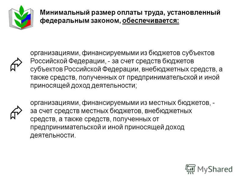 Минимальный размер оплаты труда, установленный федеральным законом, обеспечивается: организациями, финансируемыми из бюджетов субъектов Российской Федерации, - за счет средств бюджетов субъектов Российской Федерации, внебюджетных средств, а также сре