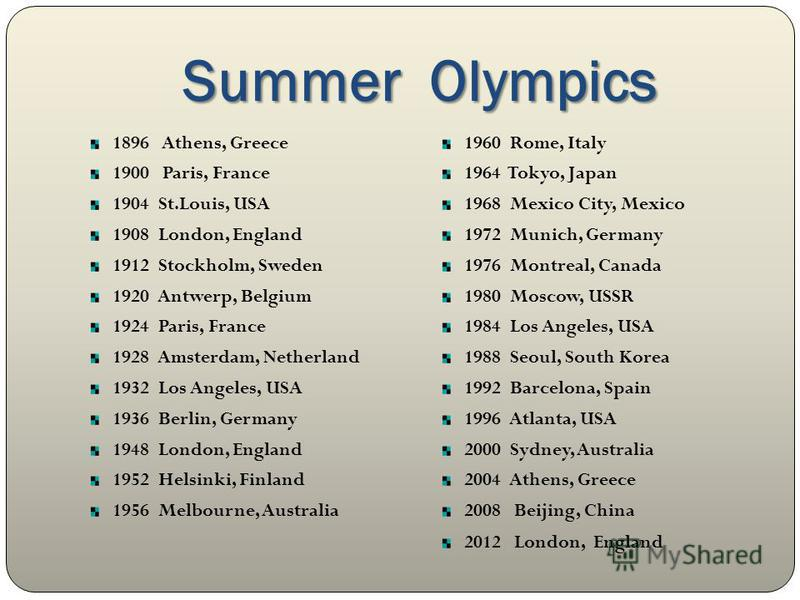 Summer Olympics 1896 Athens, Greece 1900 Paris, France 1904 St.Louis, USA 1908 London, England 1912 Stockholm, Sweden 1920 Antwerp, Belgium 1924 Paris, France 1928 Amsterdam, Netherland 1932 Los Angeles, USA 1936 Berlin, Germany 1948 London, England