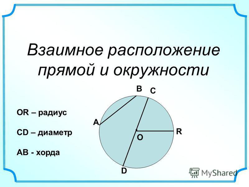 Взаимное расположение прямой и окружности. О А В С D R ОR – радиус СD – диаметр AB - хорда