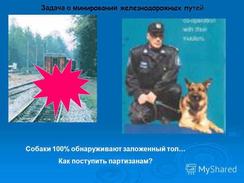 Задача о минировании железнодорожных путей Собаки 100% обнаруживают заложенный тол… Как поступить партизанам?