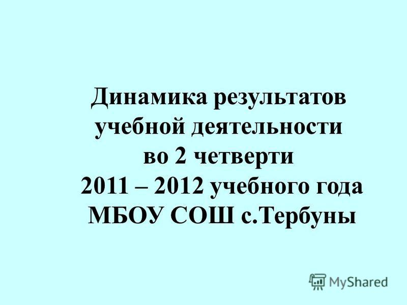 Динамика результатов учебной деятельности во 2 четверти 2011 – 2012 учебного года МБОУ СОШ с.Тербуны
