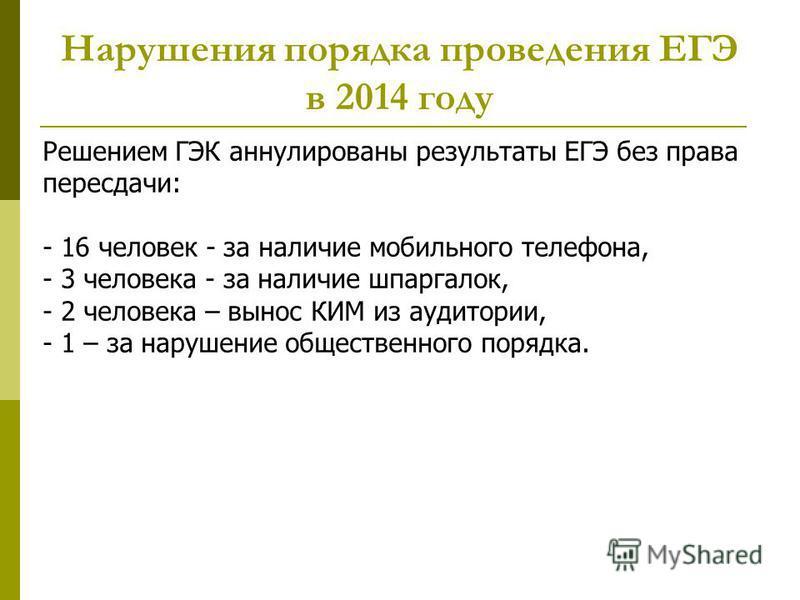 Нарушения порядка проведения ЕГЭ в 2014 году Решением ГЭК аннулированы результаты ЕГЭ без права пересдачи: - 16 человек - за наличие мобильного телефона, - 3 человека - за наличие шпаргалок, - 2 человека – вынос КИМ из аудитории, - 1 – за нарушение о