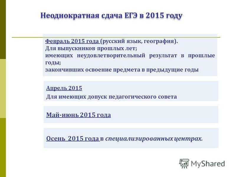 Неоднократная сдача ЕГЭ в 2015 году Апрель 2015 Для имеющих допуск педагогического совета Февраль 2015 года (русский язык, география). Для выпускников прошлых лет; имеющих неудовлетворительный результат в прошлые годы; закончивших освоение предмета в