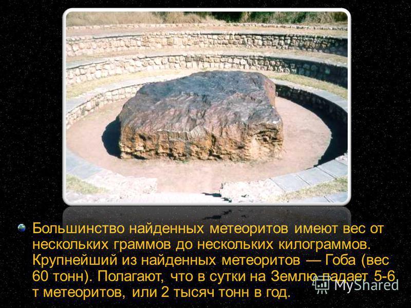 Большинство найденных метеоритов имеют вес от нескольких граммов до нескольких килограммов. Крупнейший из найденных метеоритов Гоба (вес 60 тонн). Полагают, что в сутки на Землю падает 5-6 т метеоритов, или 2 тысяч тонн в год.