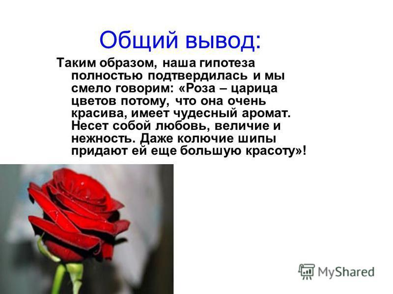 Наши выводы: по итогам опроса стало ясно, что многие выбирают розу из множества других цветов: из мифов, легенд и сказаний мы заметили то, что наши предки тоже не оставили без внимания этот великолепный цветок; в этикете роза тоже занимает преобладаю