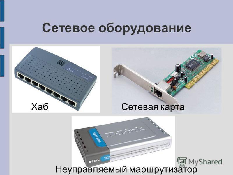 Сетевое оборудование Хаб Сетевая карта Неуправляемый маршрутизатор