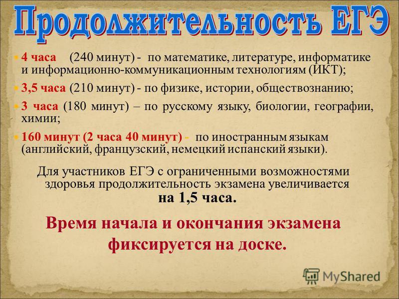 4 часа (240 минут) - по математике, литературе, информатике и информационно-коммуникационным технологиям (ИКТ); 3,5 часа (210 минут) - по физике, истории, обществознанию; 3 часа (180 минут) – по русскому языку, биологии, географии, химии; 160 минут (