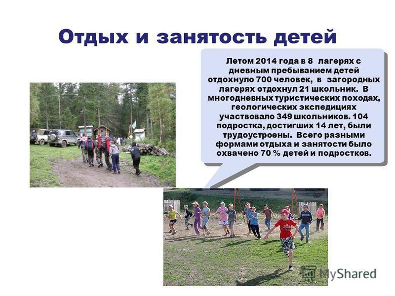 Отдых и занятость детей Летом 2014 года в 8 лагерях с дневным пребыванием детей отдохнуло 700 человек, в загородных лагерях отдохнул 21 школьник. В многодневных туристических походах, геологических экспедициях участвовало 349 школьников. 104 подростк