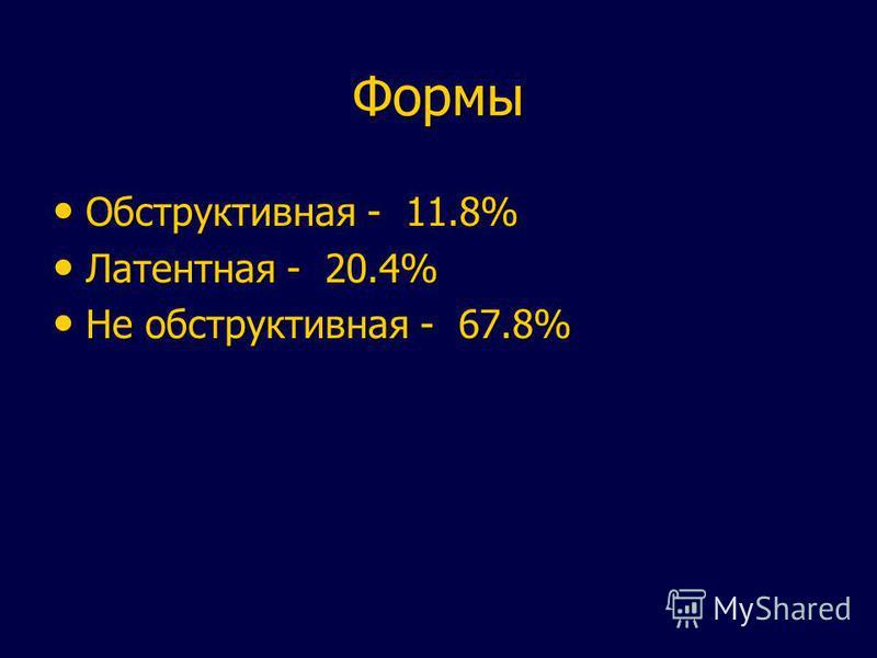Формы Обструктивная - 11.8% Обструктивная - 11.8% Латентная - 20.4% Латентная - 20.4% Не обструктивная - 67.8% Не обструктивная - 67.8%