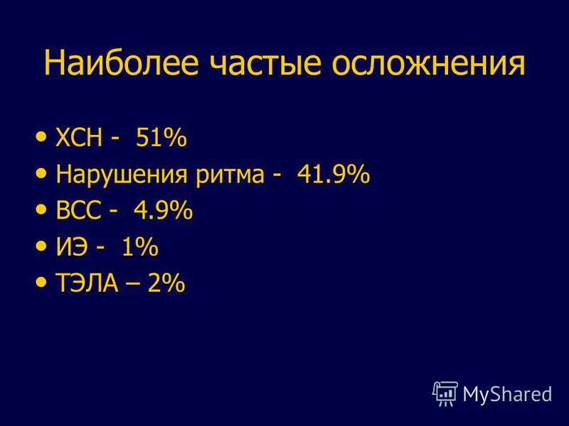 Наиболее частые осложнения ХСН - 51% ХСН - 51% Нарушения ритма - 41.9% Нарушения ритма - 41.9% ВСС - 4.9% ВСС - 4.9% ИЭ - 1% ИЭ - 1% ТЭЛА – 2% ТЭЛА – 2%