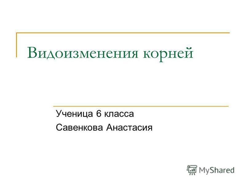 Видоизменения корней Ученица 6 класса Савенкова Анастасия